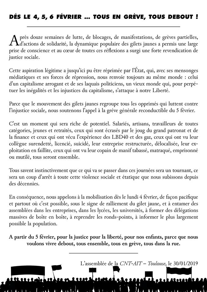 CNT-IAA Toulouse: Streikaufruf (05.02.2019)