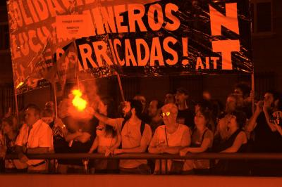 Soldiarität mit den streikenden Bergleuten in Madrid