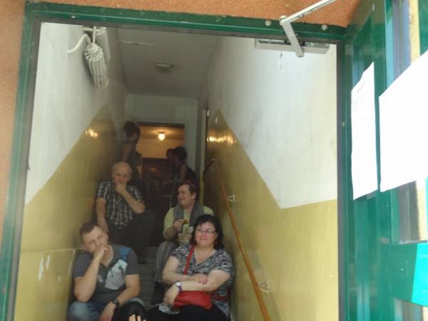 besetztes Treppenhaus